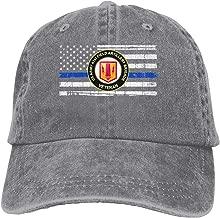 Vbfgtg US Army 41st Field Artillery Brigade Veteran Thin Blue Line Flag Denim Hats Washed Retro Baseball Cap Dad Hat