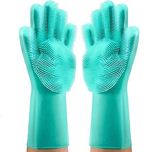 洗濯手袋 シリコン手袋 繰り返し利用 作業 掃除 炊事 食器洗い 園芸 洗車 防水 防油 耐熱性 耐久性 掌纹デザイン キッチンブラシ キッチン用品 多機能手袋 男女兼用