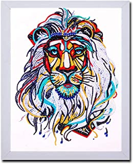 DIY 5D Diamond Painting by Number Kits with Frame and Protection Shield, Crystal Rhinestone Diamond Embroidery Paintings Pictures Arts Craft for Home Wall Decor Ready to Hang (12x16 Inch, Lion)