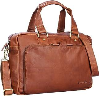 """STILORD Jon"""" Vintage Leder Umhängetasche Herren Damen Laptoptasche 15.6 Zoll für große DIN A4 Aktenordner Business Büro Arbeit Uni echtes Büffelleder, Farbe:Cognac - braun"""
