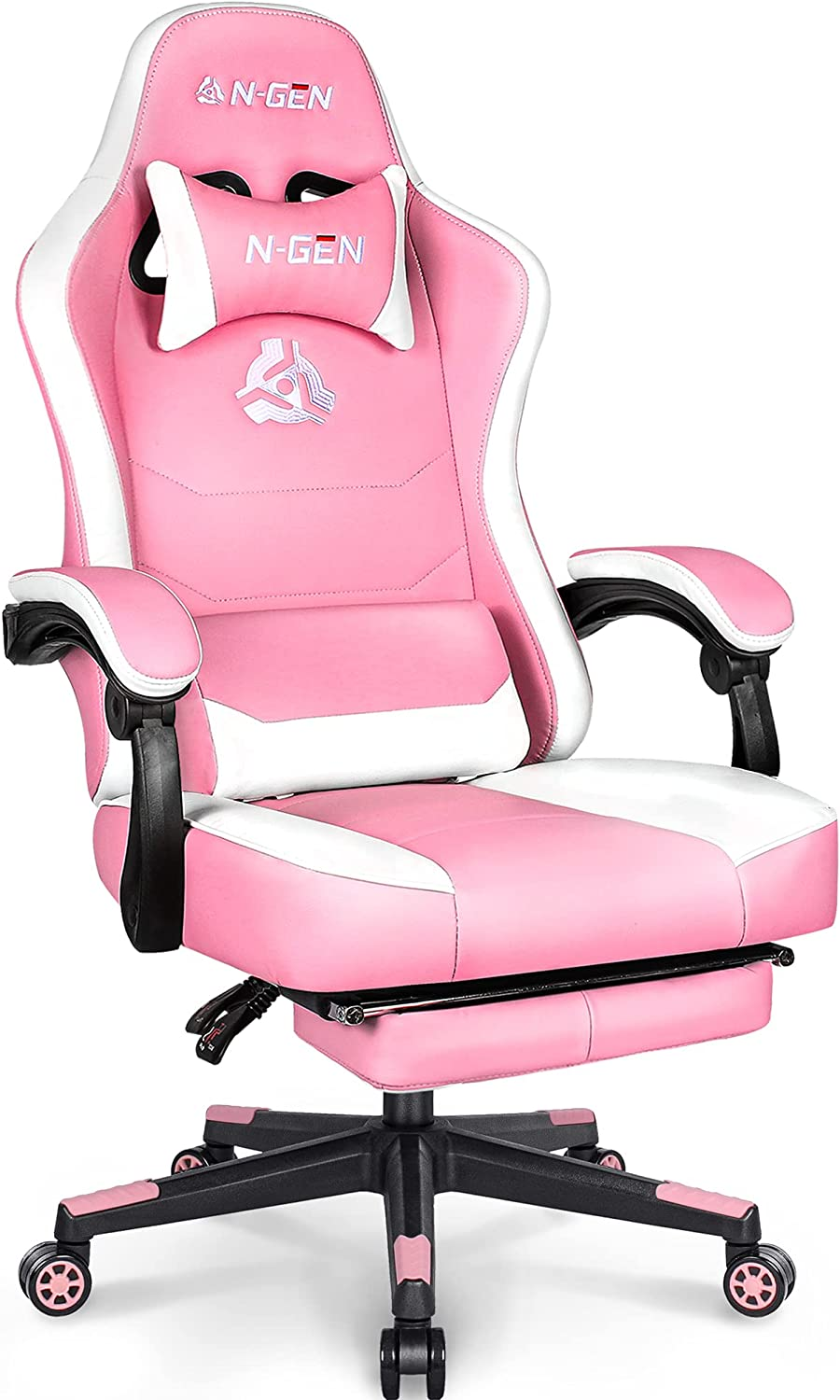 N-GEN Gaming Limited price Chair with Footrest Style Time sale Leather Seat PU Levelled