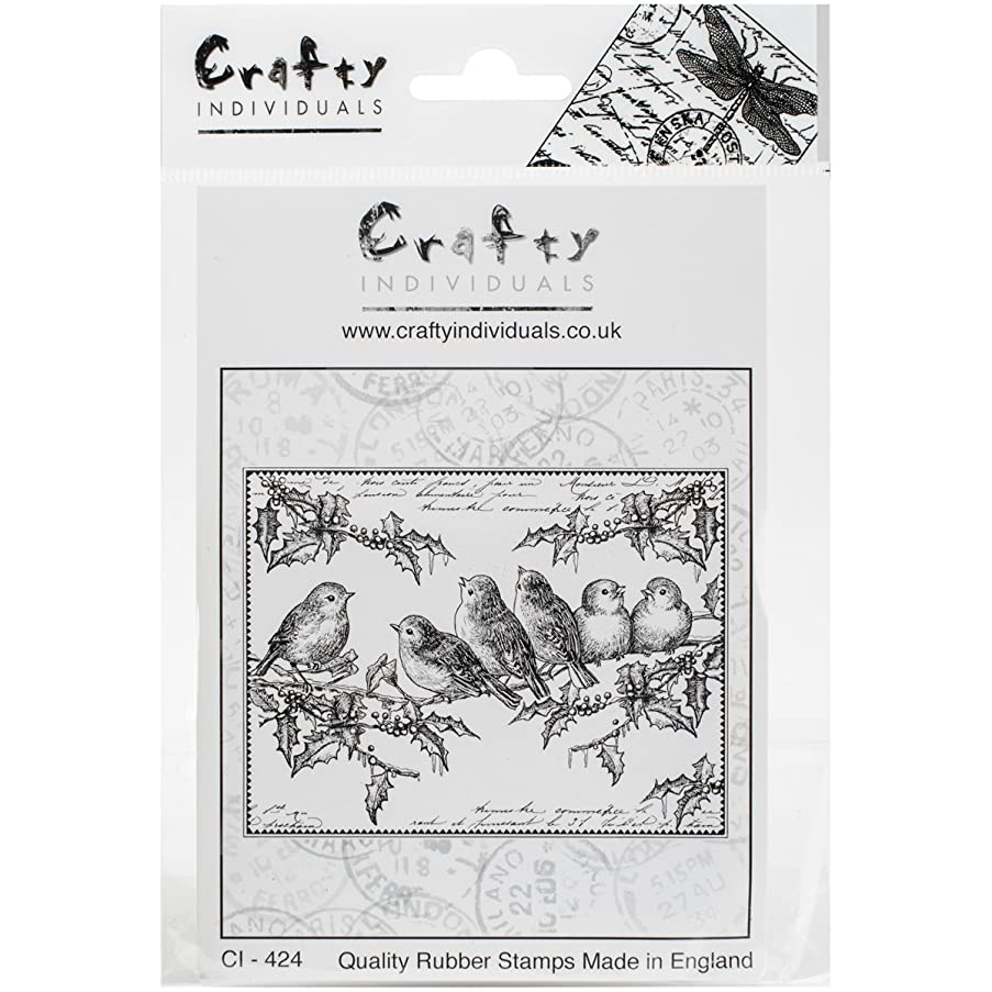 Crafty Individuals Unmounted Rubber Stamp, 4.75 x 7, Holly Jolly Robins
