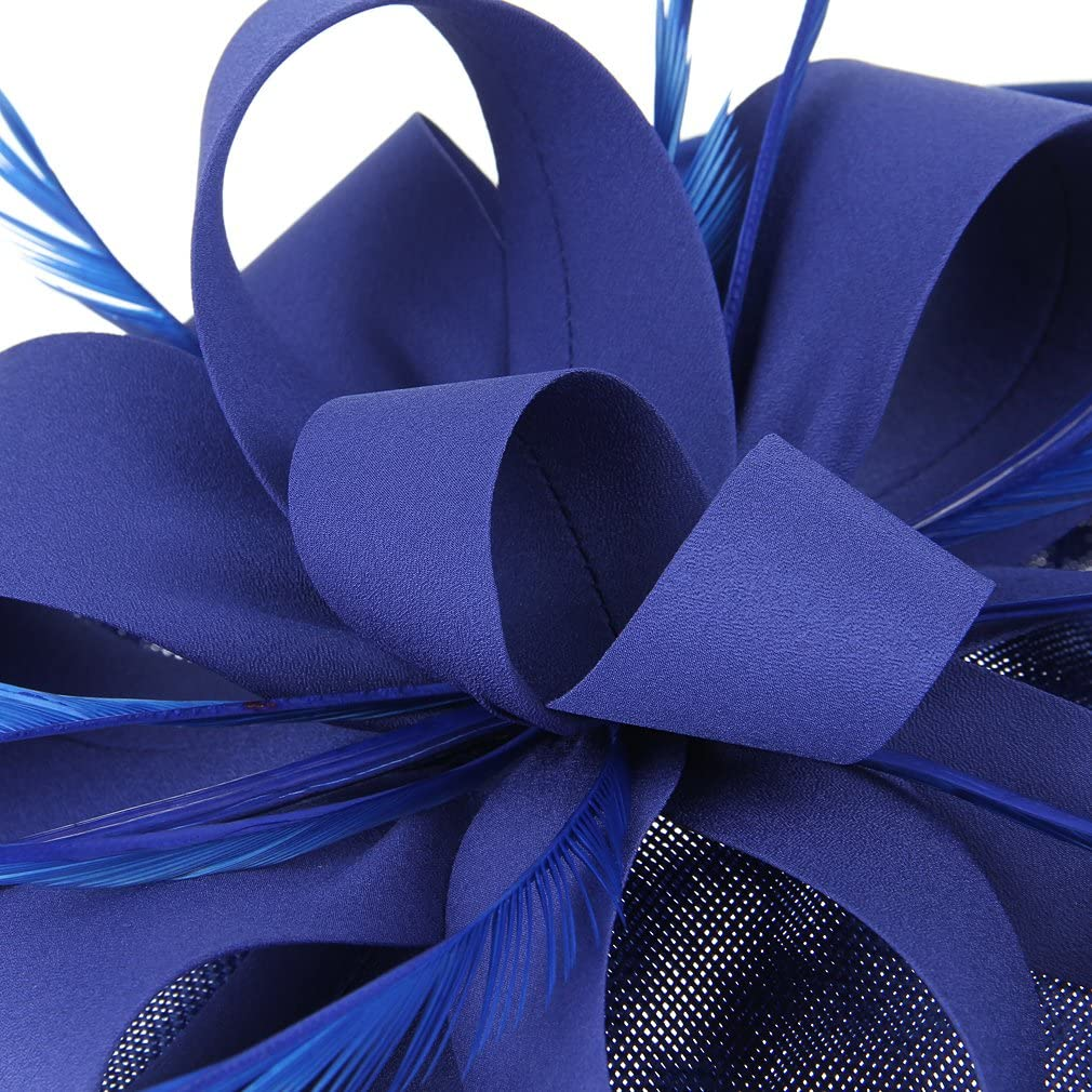 Jelord Women Ladies Flower Fascinators Hair Clip Bow Feather Wedding Cocktail Party Pillbox Hat Headdress