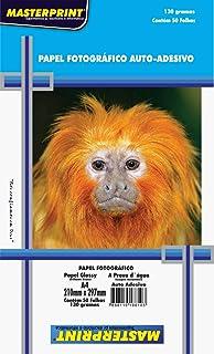 Masterprint 302010041, Papel Fotográfico, Inkjet, A4, Glossy, Adesivo 130 g, Multicor, Pacote de 50