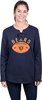 Icer Brands NFL Chicago Bears Women's Fleece Sweatshirt Lace Long Sleeve Shirt, Medium, Navy