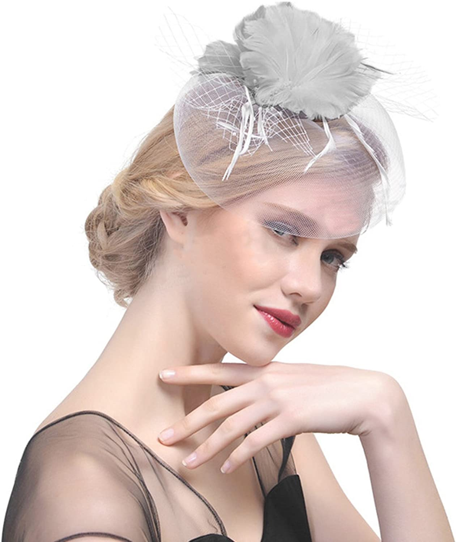 Women's Vintage Feather Veil Flower Fascinator Prom Wedding Bowler Hat Headwear