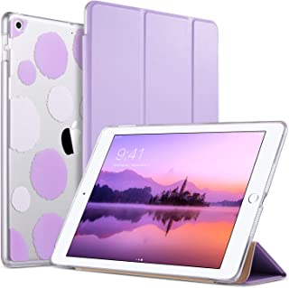 ULAK iPad 6th Generation Case, Slim Trifold Lightweight iPad 9.7 2018/2017 Cases Smart Case Stand Auto Sleep/Wake Hard Back Clear Polka Dot Cover for iPad 9.7 iPad 5th / 6th Generation, Lavender