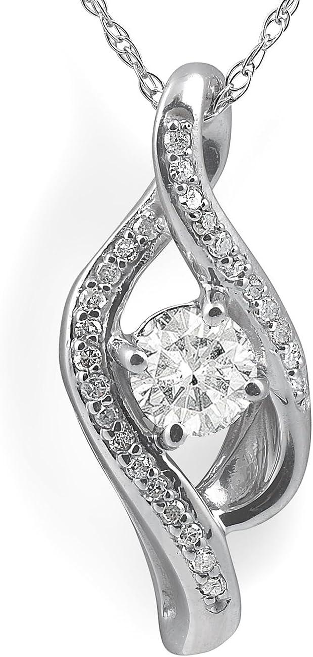 1 3ct Diamond Solitaire Curve Pendant 10k Gold 4