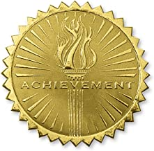 Deluxe Embossed Achievement Torch Certificate Seals, 102 Count (Gold)