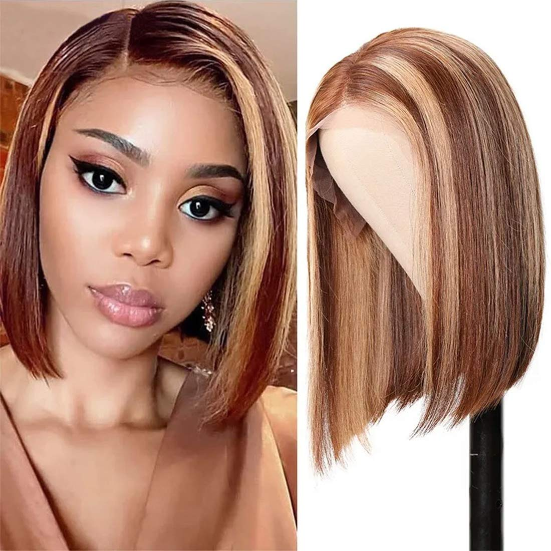 Nadula Straight Bob Wig ご注文で当日配送 13x4 Front 本日限定 Brown Blonde Colored Lace