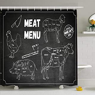 Ahawoso Shower Curtain Set with Hooks 72x78 Meat Vintage Menu Set Symbols Beef Animals Old Drawing Wildlife Cook Food Domestic Drink Chicken Waterproof Polyester Fabric Bath Decor for Bathroom