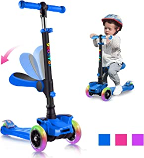 OUTON Scooter for Kids 3 Wheel Kick Scooter for Toddler Girls & Boys, Lean to Steer, 4 Adjustable Height, Light Up Wheels for Children Ages 2-14
