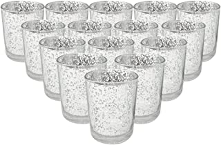 Just Artifacts Mercury Glass Votive Candle Holder 2.75-Inch (15pcs, Speckled Silver) - Mercury Glass Votive Tealight Candle Holders for Weddings, Parties and Home Décor