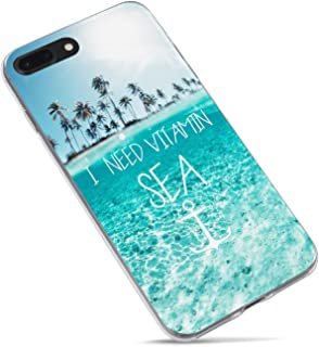 iPhone 7 Plus Case,iPhone 8 Plus Case,Tropical Beach Quote and Saying I need Vitamin Sea Palm Tree Blue Clean Ocean Hawaii Aloha Summer Clear Side Soft Rubber Case Compatible for iPhone 8 Plus/7 Plus