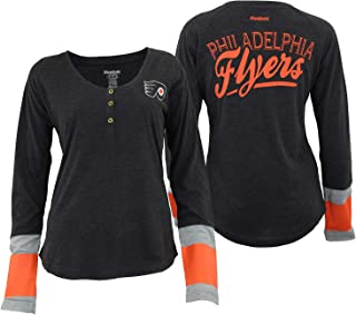 Reebok Chicago Blackhawks Womens Jersey Striped Henley Shirt