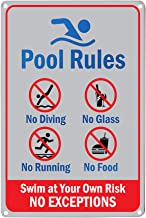 LASMINE Pool Rules Sign,No Diving Running Food Glass Swim Risk Closed Warning Signs Safety Rules Not Sticker Center Peeing House Decor Outdoor 8X12Inch