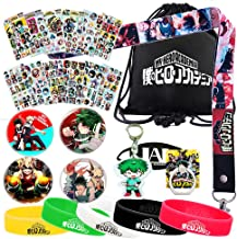 My Hero Academia Bag Gift Set - 1 MHA Drawstring Bag Backpak, 12 Sheet Stickers, 1 Lanyard, 1 Mouth Mask, 1 Keychain, 1 Phone Ring Holder, 5 Bracelets, 4 Button Pins for Anime MHA Fans (Black)