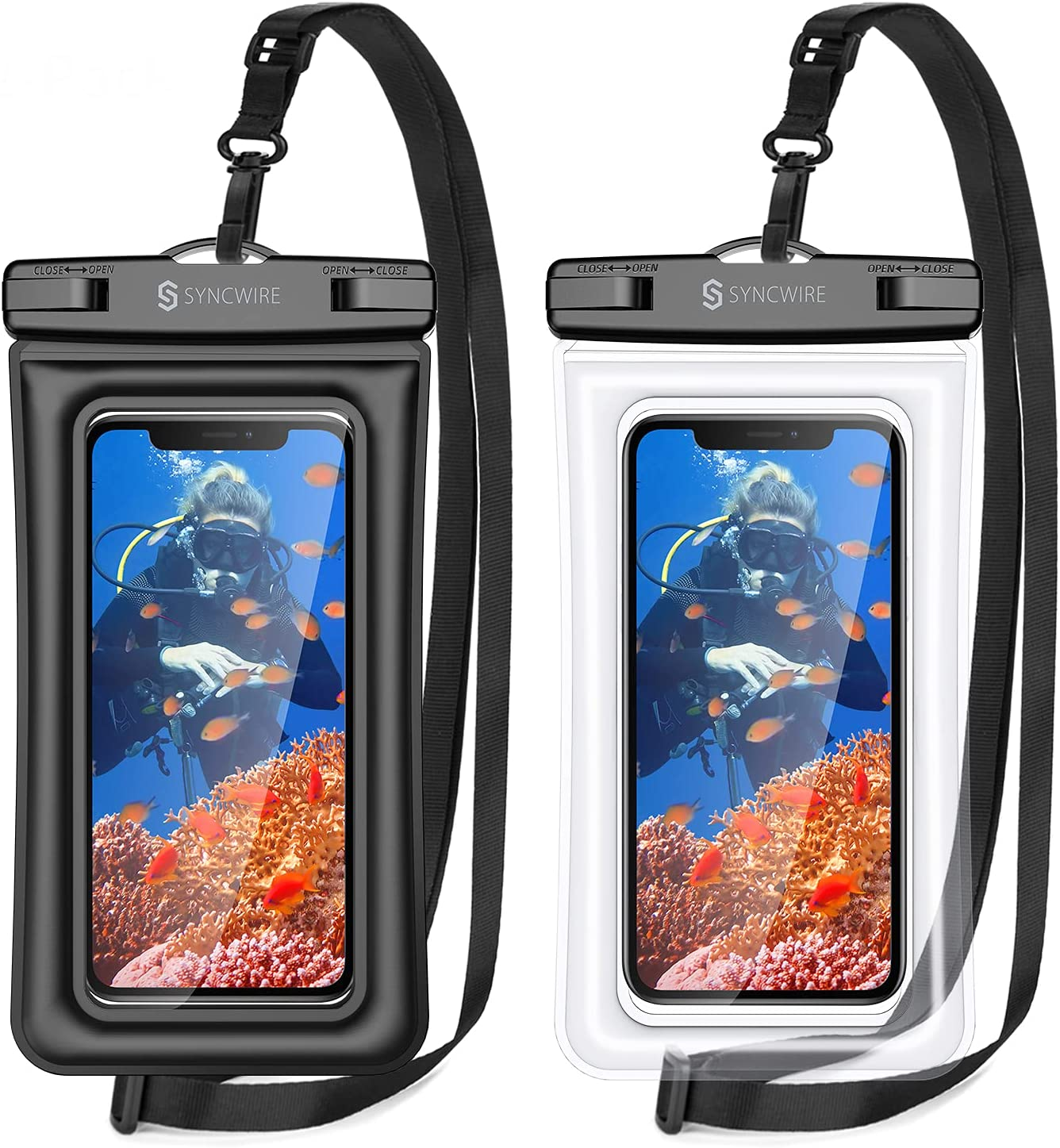 Syncwire Waterproof Phone Case, 2 Pack IPX8 Universal Waterproof Phone Pouch Underwater Dry Bag Compatible with iPhone 12 SE2 11 Pro XS Max XR X 8 7 6s Plus Galaxy S10 S9 Note 10 Google Pixel Up to 7