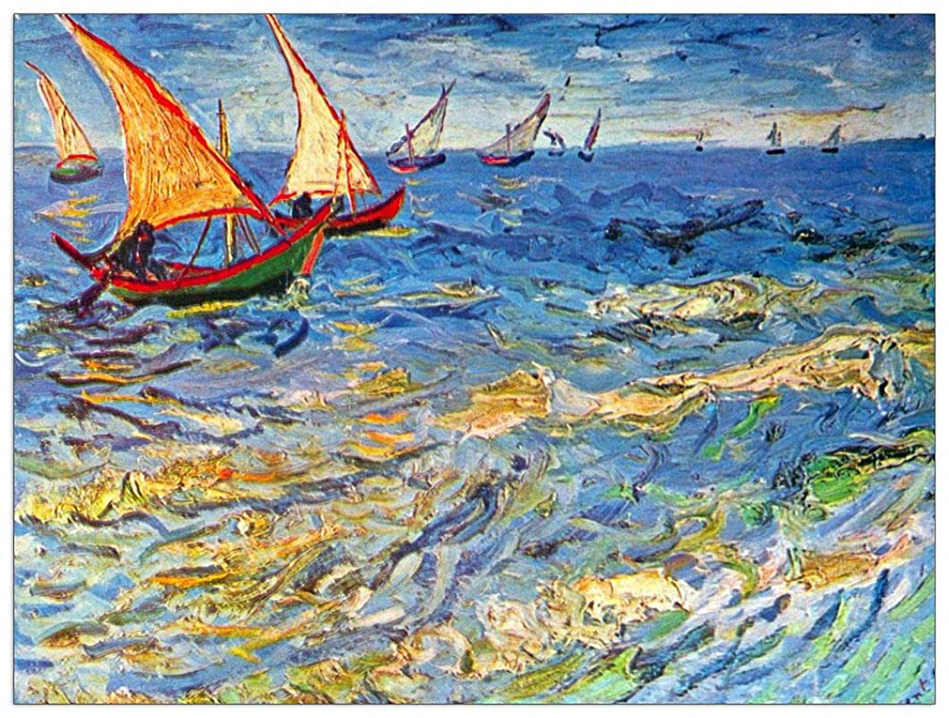 ArtPlaza TW90944 Van Gogh Vincent - The sea at Saintes-Maries Decorative Panel 35.5x27.5 Inch Multicolored