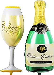 """Propsicle (Pack of 2) 36"""" Inch Large Helium Foil Cheers Wine Glass Balloon and Champagne Bottle Balloon Combo Wine Champag..."""