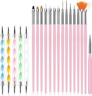 URAQT Nagelkunstborstelset, 15-delige acryl-nagelborstel-schilderpen en 5-delige nagelpuntengereedschap, Nagelpen Designer...