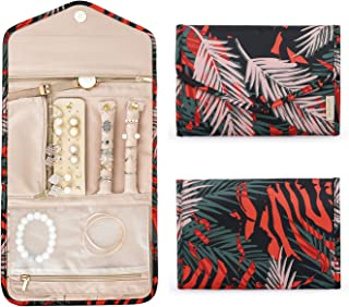 BAGSMART Travel Jewellery Organiser Roll Foldable Jewelry Case for Journey-Rings, Necklaces, Bracelets, Earrings, Red Fern