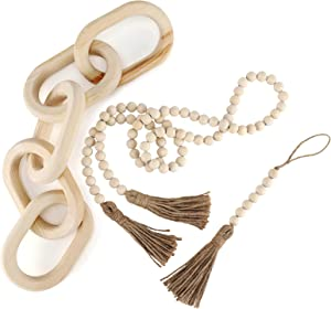 Decorative Wood Chain Link and Bead Garlands Set, 22in Hand Carved Natural Pine Wood Chain of 5 Links, Modern Boho 59in Long and 7in Short Bead Garlands with Tassels for Living Room Bedroom Entryway