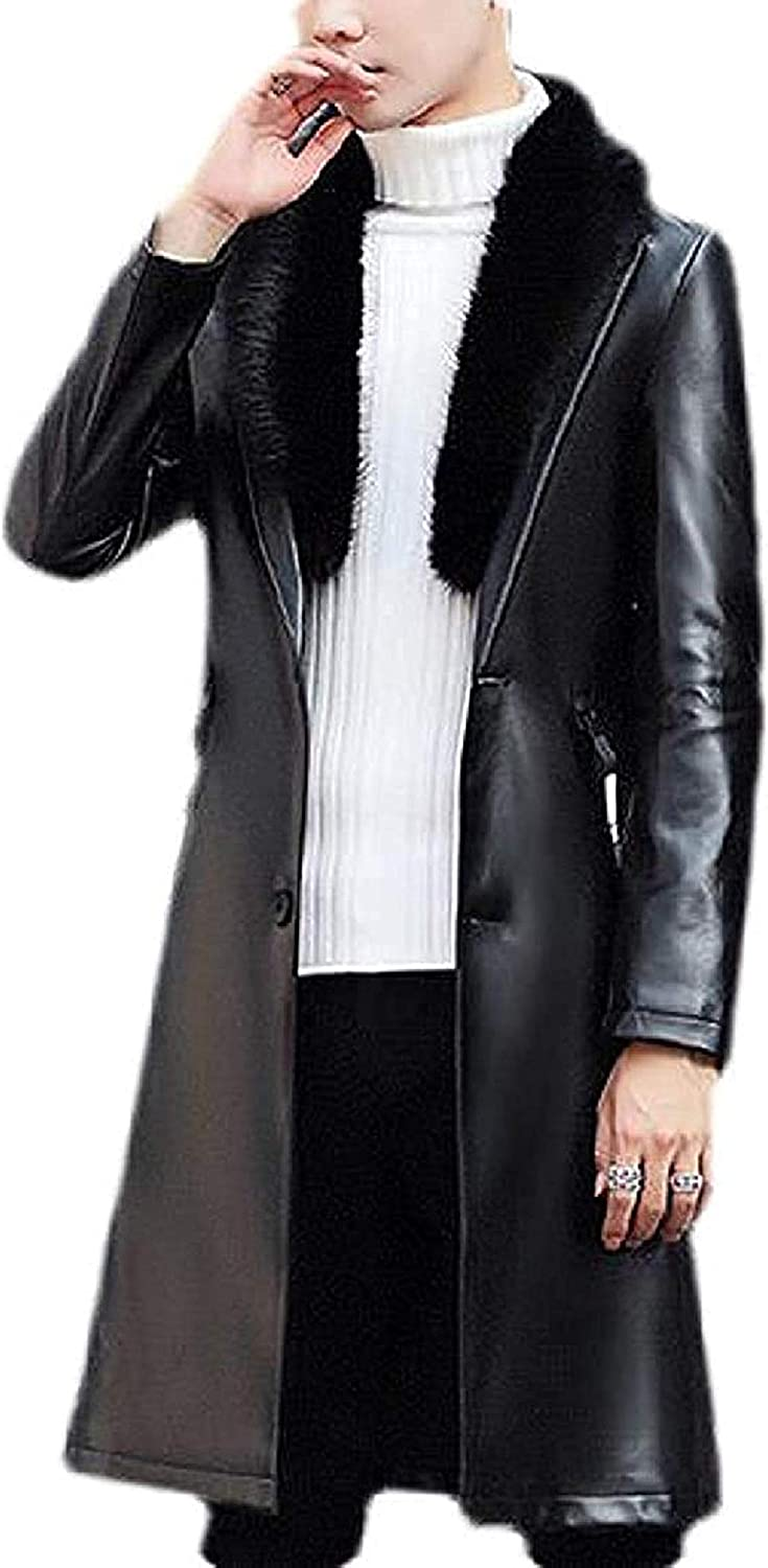 Mens Fall Winter Faux Fur Collar Pu Leather Slim Fit Long Trench Coat Jacket Overcoat