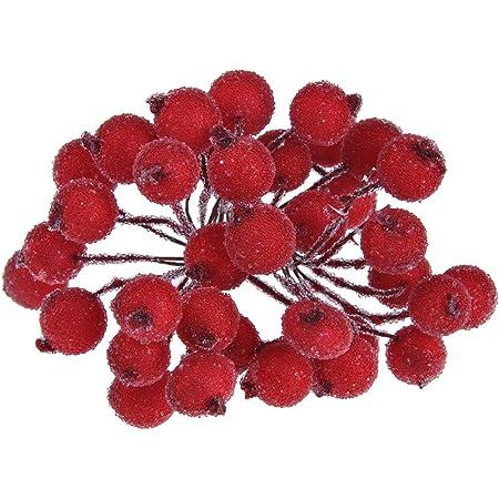 Hilai 200pcs Artificiel givr/é Baie Chic Mini givr/é Fruit Houx Fleur Artificielle pour DIY No/ël Arbre d/écoration Rouge