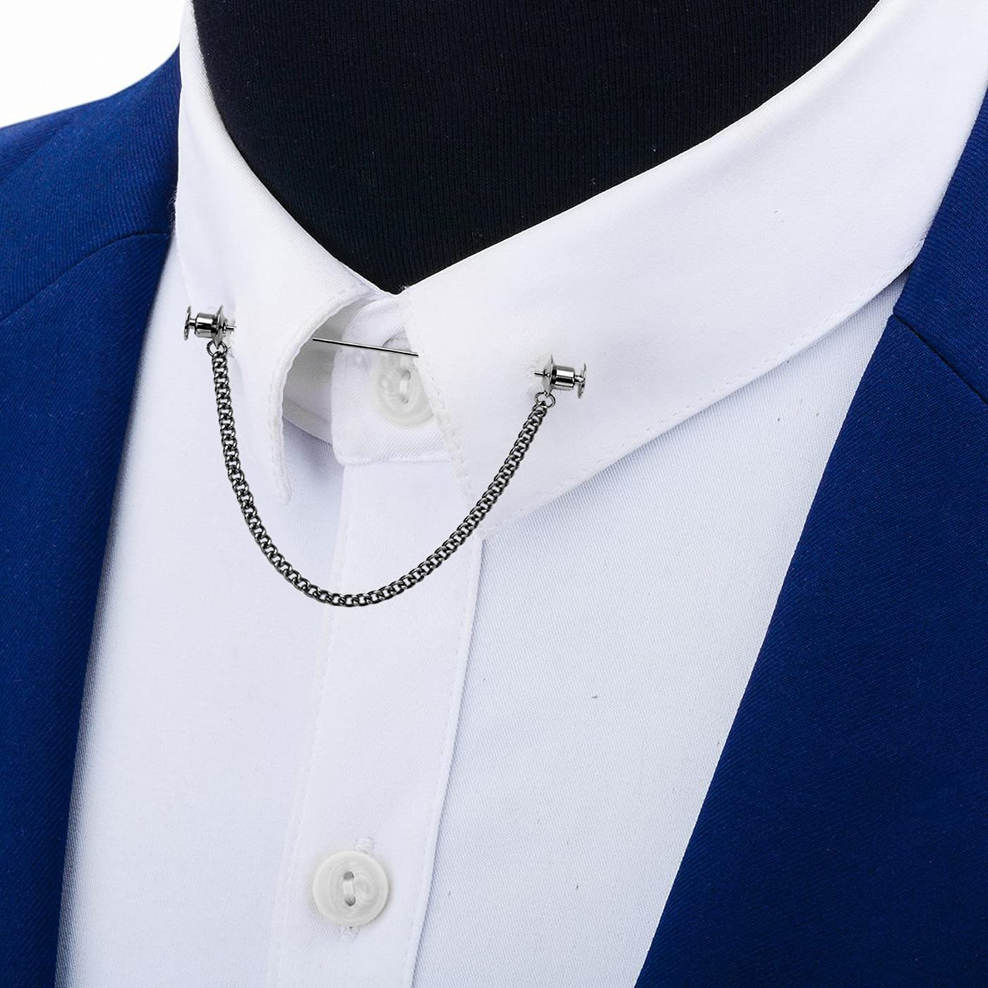 VVCome Men's Metal Tassel Chain Collar Pins Suit Brooch Tie Pin Shirt Accessories with Gift Box