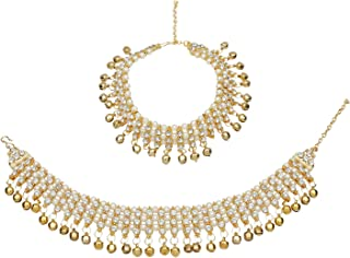 Efulgenz Indian Bollywood Gold Plated Crystal Faux Pearl Wedding Bridal Anklet Pair with Bells (2 Piece) Bracelet Payal Foot Jewelry