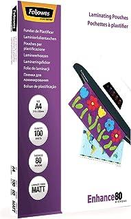 Fellowes 5452101 Enhance Pochettes de plastification mates 80 microns A4 - Pack de 100 Transparent