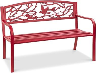 Best Choice Products 50in Steel Outdoor Patio Garden Park Bench Porch Chair Yard Furniture w/Pastoral Bird Design - Red