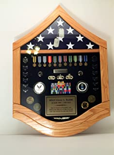HS Flag Case Shadow Box Military - SMSgt Senior Master Sergeant Airforce (3X5' Flag, Walnut)
