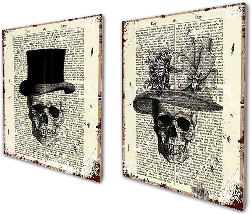 Skull Decor Vintage Dictionary Wood Wall Art Print Two Set - Skull Decorations Gentleman Lady Hat - Bone Art Wall Decor 8x10 inch Unframed Skull Couples Gifts for Women Men
