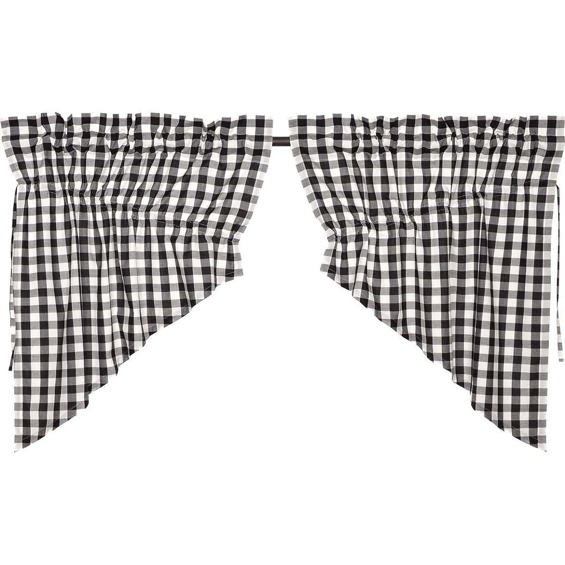 VHC Brands Classic Country Farmhouse Kitchen Window Curtains - Annie Buffalo Check White Lined Prairie Swag Pair, Black