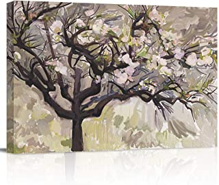 zzsunfeel Canvas Oil Painting Dogwood Bloom Flower Abstract Wall Art Elegant White Florals Magnolia Tree - 12x16 inches
