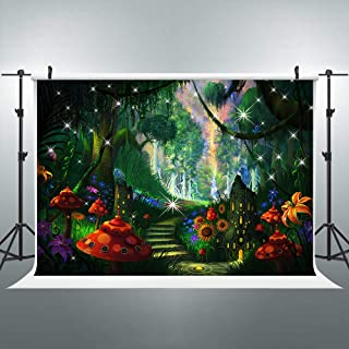 FLASIY 7x5ft Fairy Tale Forest Photography Backdrop Enchanted Jungle Flower Background for Baby Shower Children Birthday Banner Photo Booth Props LYAY1053