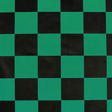市松模様 生地 格子柄 ブロード 和柄 緑×黒 NBK 生地 布 グリーン×ブラック コスプレ 巾約110cm×1m切売カット IBK99078-1A-1M