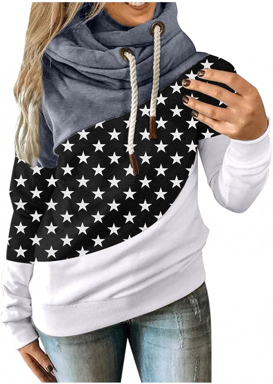 Toeava Women Fashion Hoodies Long Sleeve Turtleneck Pullover Sweatshirt Contrast Color Dot Print Drawstring Hoodies