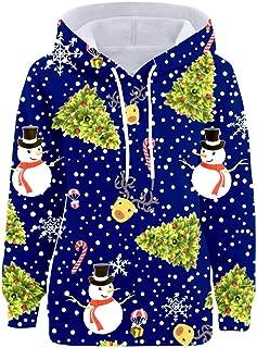 DONTAL Womens Christmas Snowman Tree Print Pocket Hooded Long Sleeve Loos Sweatshirt Pullover