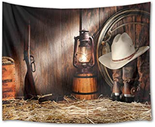 HVEST Cowboy Tapestry Vintage Boots Lantern and Gun on Straw in Rustic Wood Barn Wall Hanging American Western Culture Tapestries for Bedroom Living Room Dorm Party Wall Decor,80Wx60H inches