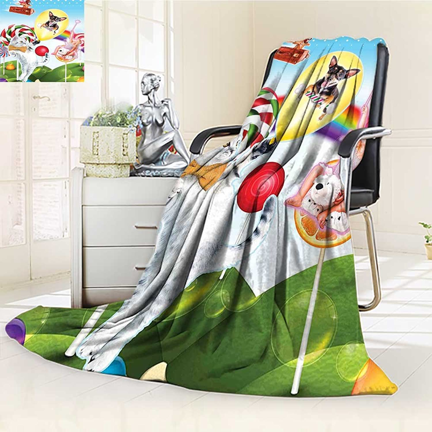 YOYIHOME 300 GSM Fleece Duplex Printed Blanket halongLand Rainbow Candy Trees Cat Dog Fairy Girl Boy Flying in Suitcase Multicolor Super Soft Warm Fuzzy Bed W47 x H59