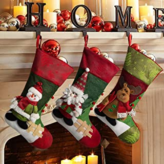 Dimerry Christmas Stockings Hanging, 3 Pcs 18'' Classic Santa, Snowman, Reindeer, Christmas Socks Decoration for Tree Hanging, Fireplace, Family Holiday and Party (3 Pcs Christmas Stockings)