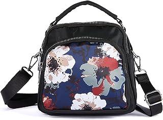 LaRechor Blumen Kleine Umhängetasche Handtasche Schultertasche für Damen Tote Tasche Mini Rucksack Nylon Frauentasche