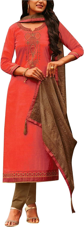 Cotton Partywear Embroidered Salwar Kameez Suit with Silk Weaving Dupatta & Pants