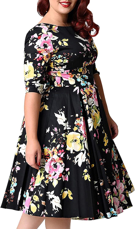 moonsix Women's Plus Size Vintage Floral 3/4 Sleeve Casual Swing Dress