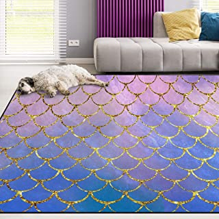 Naanle Mermaid Non Slip Area Rug for Living Dinning Room Bedroom Kitchen, 5' x 7'(58 x 80 Inches / 150 x 200 cm), Colorful Mermaid Scale Nursery Rug Floor Carpet Yoga Mat