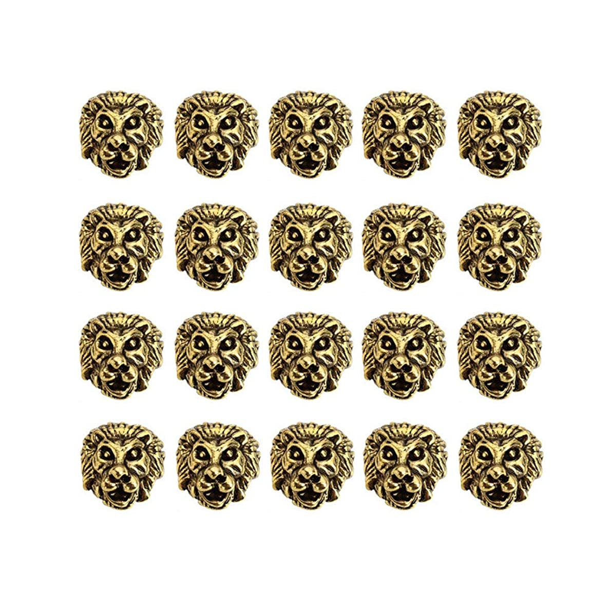 Mystart 20 Pieces Alloy Lion Head Beads Spacer Beads Loose Beads Charms for Bracelet Jewelry Making (Antique Gold)