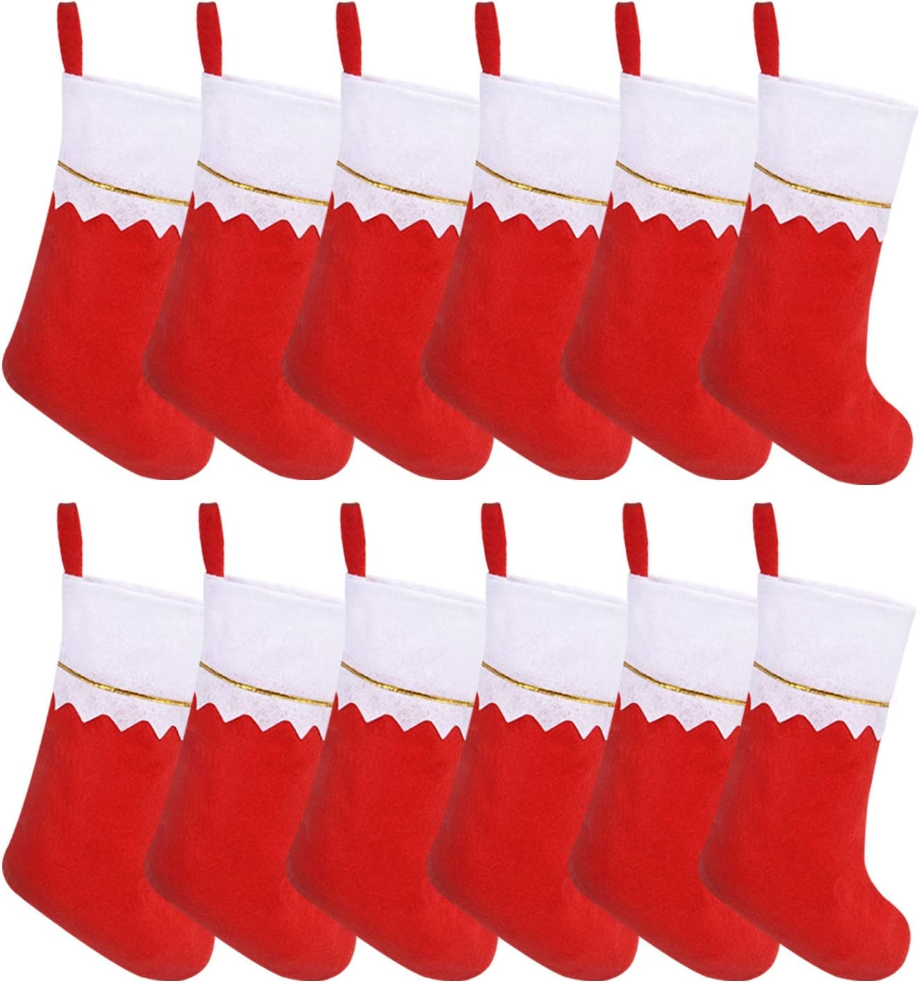 WJA Under blast Max 53% OFF sales 12 Pack Red Felt Holiday Stockings Christmas Bulk